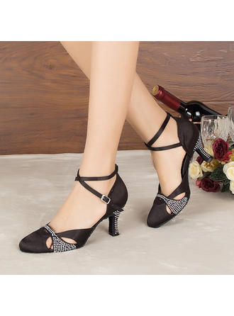 Women's Ballroom Heels Sandals Pumps Satin With Rhinestone Dance Shoes