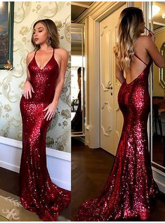 Fashion Sequined Evening Dresses Sheath/Column Sweep Train V-neck Sleeveless