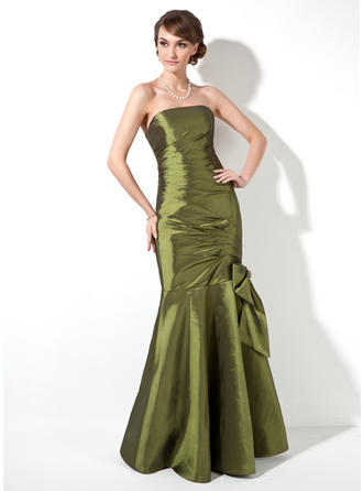 Trumpet/Mermaid Taffeta Bridesmaid Dresses Ruffle Beading Bow(s) Strapless Sleeveless Floor-Length