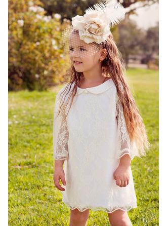 A-Line/Princess Peter Pan Collar Knee-length Lace 3/4 Sleeves Flower Girl Dress