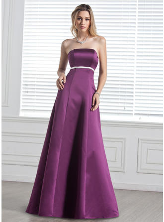 Satin Sleeveless Empire Bridesmaid Dresses Strapless Sash Bow(s) Floor-Length