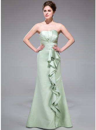 Trumpet/Mermaid Satin Bridesmaid Dresses Cascading Ruffles Scalloped Neck Sleeveless Floor-Length
