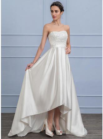 A-Line/Princess Sweetheart Asymmetrical Satin Lace Wedding Dress