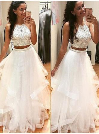 A-Line/Princess Scoop Neck Tulle Sleeveless Floor-Length Beading Evening Dresses