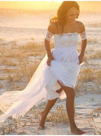 Gorgeous Tulle Wedding Dresses A-Line/Princess Floor-Length Off-The-Shoulder Short Sleeves