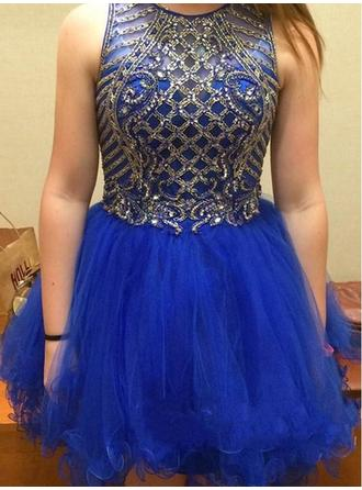 Short/Mini A-Line/Princess Tulle Sleeveless Homecoming Dresses