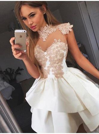 Luxurious Homecoming Dresses A-Line/Princess Short/Mini High Neck Sleeveless