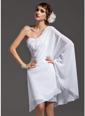 Sheath/Column One-Shoulder Asymmetrical Chiffon Prom Dress With Beading