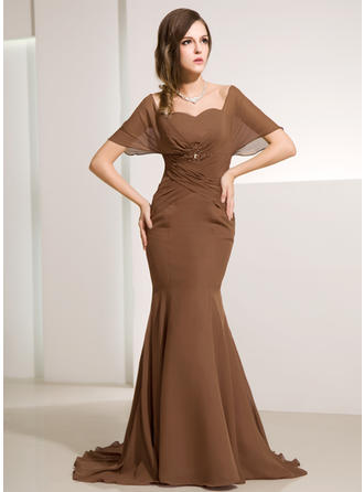 Trumpet/Mermaid Chiffon Short Sleeves Off-the-Shoulder Sweep Train Zipper Up at Side Mother of the Bride Dresses