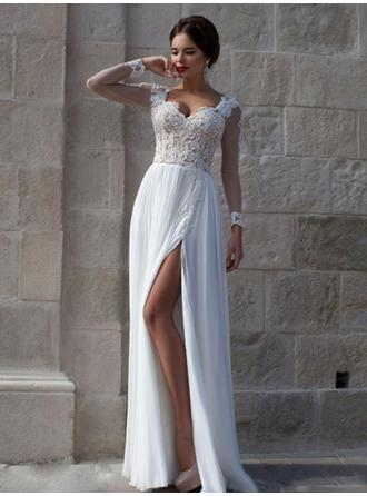 A-Line/Princess Sweetheart Floor-Length Prom Dresses With Lace Beading