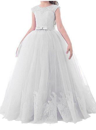 Ball Gown Scoop Neck Floor-length With Bow(s) Tulle Flower Girl Dresses