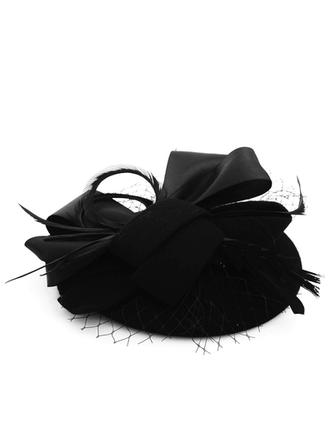 Wool/Tulle With Feather Beret Hat Elegant Ladies' Hats