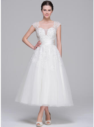 Ball-Gown Sweetheart Tea-Length Tulle Wedding Dress With Ruffle Beading Appliques Lace Sequins