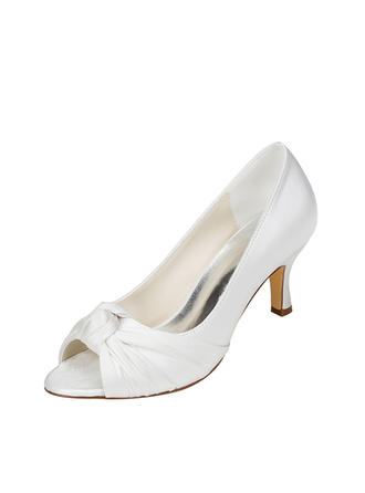 Women's Pumps Stiletto Heel Silk Like Satin With Bowknot Wedding Shoes