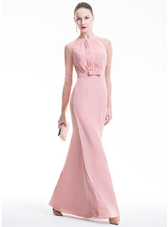 Sheath/Column Scoop Neck Chiffon Long Sleeves Floor-Length Ruffle Bow(s) Evening Dresses
