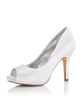 Vrouwen Satijn Stiletto Heel Peep Toe Sandalen Verfbare Schoenen