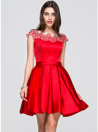 A-Line/Princess Short/Mini Homecoming Dresses Scoop Neck Satin Sleeveless