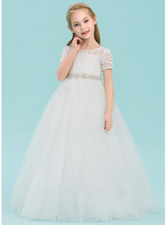 Ball Gown Floor-length Flower Girl Dress - Tulle/Lace Short Sleeves Scoop Neck With Rhinestone