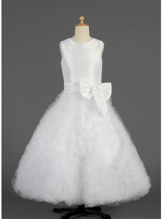 A-Line/Princess Scoop Neck Floor-length With Ruffles/Bow(s) Taffeta/Tulle Flower Girl Dress