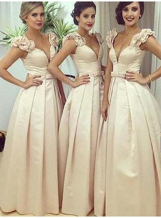 A-Line/Princess Satin Bridesmaid Dresses Sash V-neck Sleeveless Floor-Length