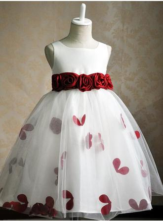 Ball Gown/Ball Gown Scoop Neck Knee-length With Flower(s)/Rose Petals Satin/Tulle Flower Girl Dress