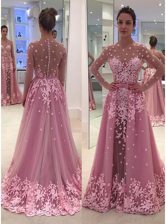 A-Line/Princess Tulle Prom Dresses Modern Floor-Length Scoop Neck Long Sleeves