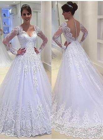 Newest Court Train A-Line/Princess Wedding Dresses V-neck Tulle Long Sleeves