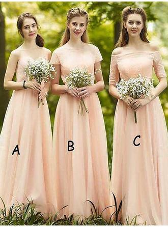 A-Line/Princess Chiffon Bridesmaid Dresses Ruffle Off-the-Shoulder Sleeveless Floor-Length