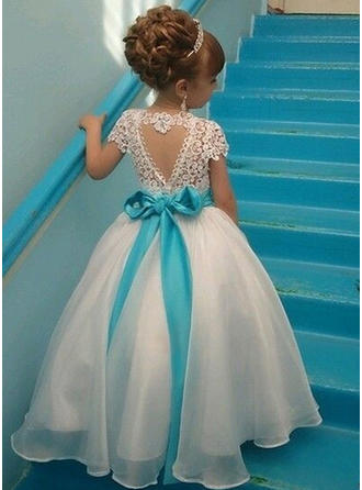 A-Line/Princess Scoop Neck Ankle-length With Back Hole Lace Flower Girl Dress