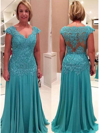 Chiffon Mother of the Bride Dresses V-neck A-Line/Princess Ruffle Appliques Lace Sweep Train