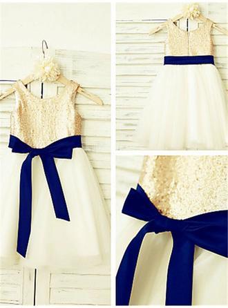 Scoop Neck A-Line/Princess Flower Girl Dresses Tulle/Sequined Sash Sleeveless Knee-length