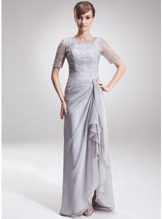 Split Front Cascading Ruffles Scoop Neck Glamorous Chiffon Lace Mother of the Bride Dresses