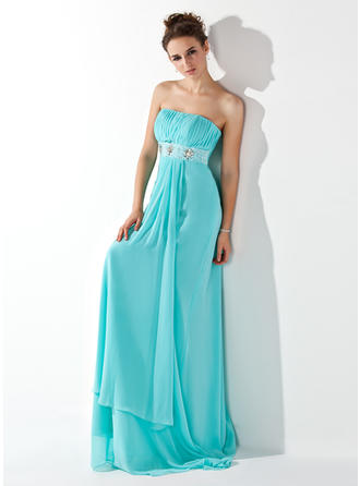 Empire Strapless Sweep Train Evening Dress With Ruffle Beading