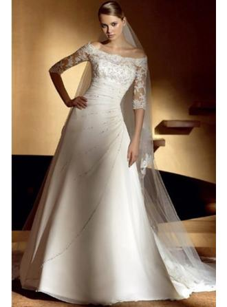 A-Line/Princess Off-The-Shoulder Cathedral Train Wedding Dresses With Ruffle Lace Beading
