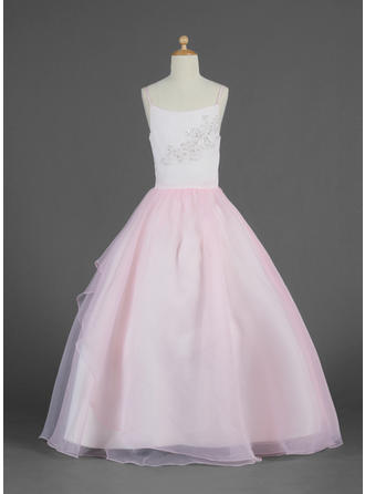Ball Gown Scoop Neck Floor-length With Lace/Beading/Sequins Organza Flower Girl Dress