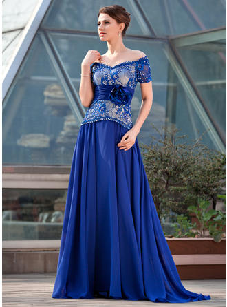 Chiffon Lace Short Sleeves Mother of the Bride Dresses Off-the-Shoulder A-Line/Princess Ruffle Beading Flower(s) Sequins Sweep Train