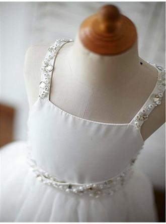 Prinzessin Sweep/Pinsel zug A-Linie/Princess-Linie Blumenmädchenkleider Correas de hombro Tüll Ärmellos (010211780)
