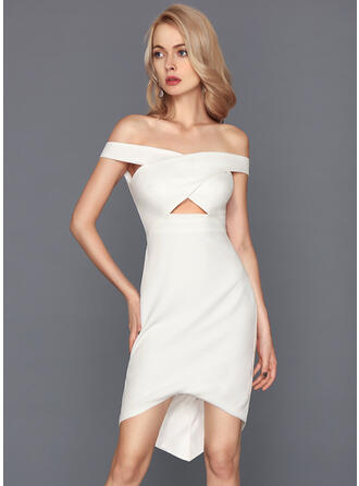 Sheath/Column Off-the-Shoulder Asymmetrical Stretch Crepe Cocktail Dress