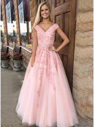 Tulle Sleeveless A-Line/Princess Prom Dresses V-neck Appliques Lace Floor-Length