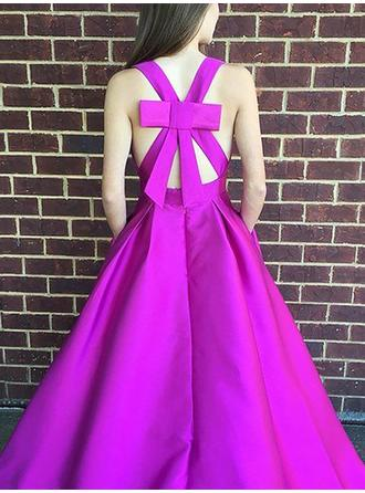Ruffle A-Line/Princess Satin Flattering Sleeveless Prom Dresses