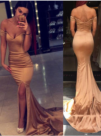 Charmeuse Sleeveless Trumpet/Mermaid Prom Dresses Off-the-Shoulder Split Front Court Train