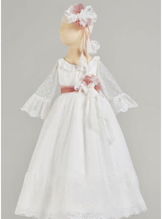 A-Line/Princess Scoop Neck Floor-length Satin Christening Gowns With Lace