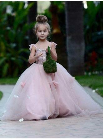 Square Neckline Ball Gown Flower Girl Dresses Flower(s) Sleeveless Court Train