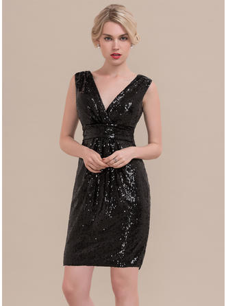 Sheath/Column Ruffle Sequined Homecoming Dresses V-neck Sleeveless Knee-Length