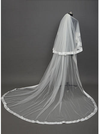 Cathedral Bridal Veils Tulle Two-tier Drop Veil/Cascade With Ribbon Edge Wedding Veils