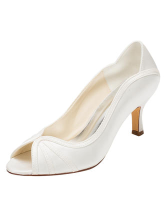 Women's Peep Toe Pumps Stiletto Heel Silk Like Satin No Wedding Shoes