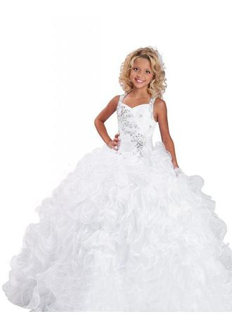 Ball Gown Straps Sweep Train With Beading Organza Flower Girl Dresses