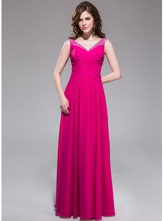 A-Line/Princess V-neck Floor-Length Evening Dresses With Ruffle Beading Sequins