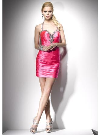 Halter Short/Mini Homecoming Dresses With Crystal Brooch