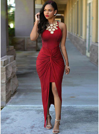 Jersey Sleeveless Sheath/Column Prom Dresses Scoop Neck Ruffle Beading Asymmetrical